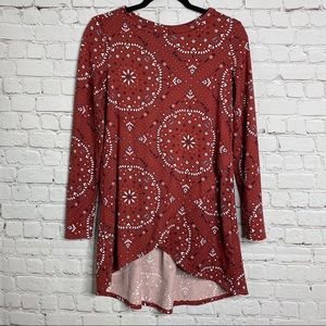 My Story Long Sleeve Fall Tunic Top Small